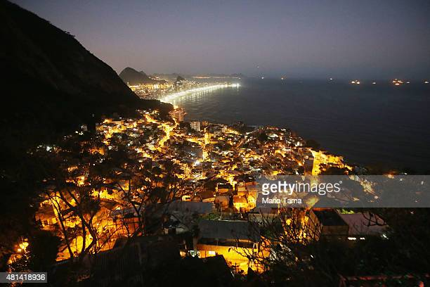 Lights shine in the Vidigal favela community which overlooks Ipanema beach on July 19 2015 in Rio de Janeiro Brazil A weekly survey of 100...