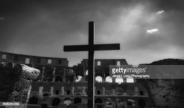 Lights Shines on a Cross in the Roman Colosseum (Black & White)