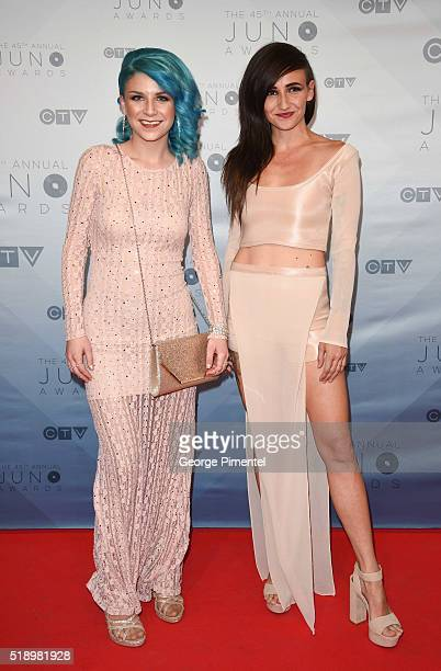 Lights singer/songwriter Valerie Anne Poxleitner Bokan and Sam Spensley arrive at the 2016 Juno Awards at Scotiabank Saddledome on April 3 2016 in...