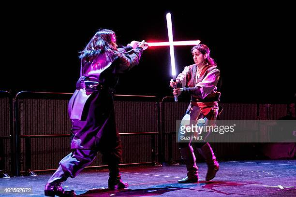 Lightsaber duels commence at 'Star Wars' and the Power of Costume opening exhibit at EMP Museum at Seattle Center on January 30 2015 in Seattle...