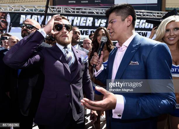 UFC lightweight champion Conor McGregor arrives at the Toshiba Plaza outside TMobile Arena ahead of their fight on August 22 2017 in Las Vegas Nevada