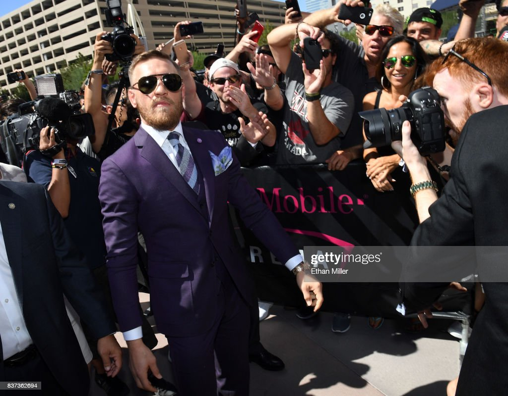 UFC lightweight champion Conor McGregor arrives at Toshiba Plaza on August 22, 2017 in Las Vegas, Nevada. McGregor will fight Floyd Mayweather Jr. in a super welterweight boxing match at T-Mobile Arena on August 26 in Las Vegas.