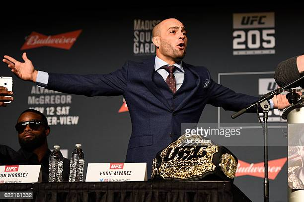 UFC lightweight champion Eddie Alvarez interacts with fans and media during the UFC 205 press conference inside The Theater at Madison Square Garden...