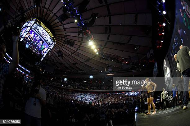 UFC lightweight champion Eddie Alvarez interacts with the crowd during the UFC 205 weighin inside Madison Square Garden on November 11 2016 in New...