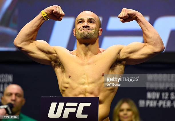 UFC lightweight champion Eddie Alvarez steps onto the scale during the UFC 205 weighin inside Madison Square Garden on November 11 2016 in New York...