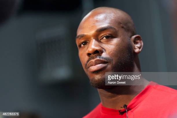 UFC lightweight champion Jon 'Bones' Jones interacts with media during an open training session for fans and media at the Jackson's Mixed Martial...