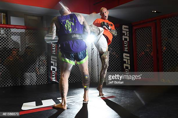 UFC lightweight Donald 'Cowboy' Cerrone works out for the media and fans during the open workouts session at UFC Gym on January 15 2015 in Boston...