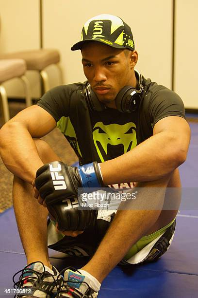 UFC lightweight Kevin Lee prepares for his fight with Jesse Ronson during the Ultimate Fighter Finale inside the Mandalay Bay Events Center on July 6...