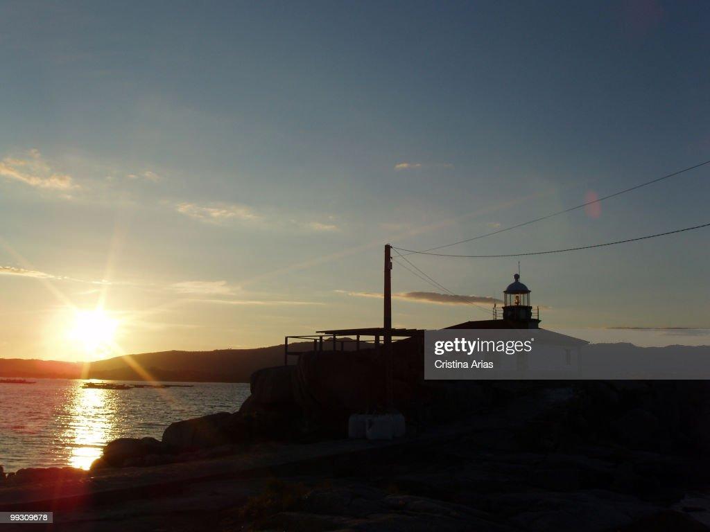 Ligthhouse at sunset Arosa Island Ria de Arosa Rias Bajas Pontevedra Galicia Spain July 2007