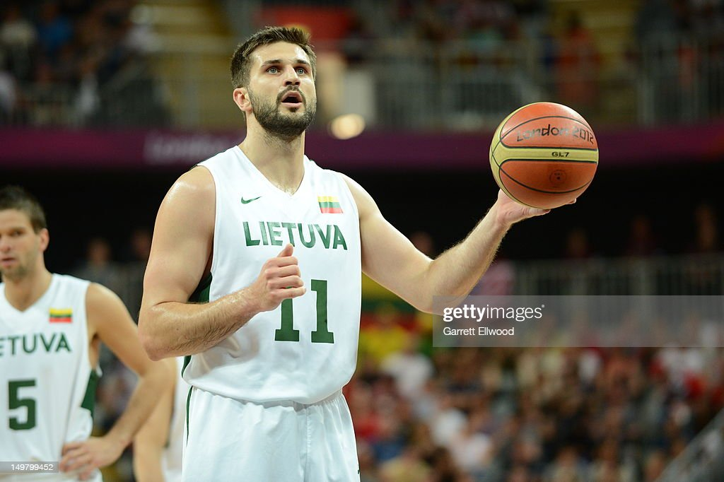 Liinas Kleiza #11 of Lithuania shoots against the United States during their Basketball Game on Day 8 of the London 2012 Olympic Games at the Olympic Park Basketball Arena on August 4, 2012 in London, England.