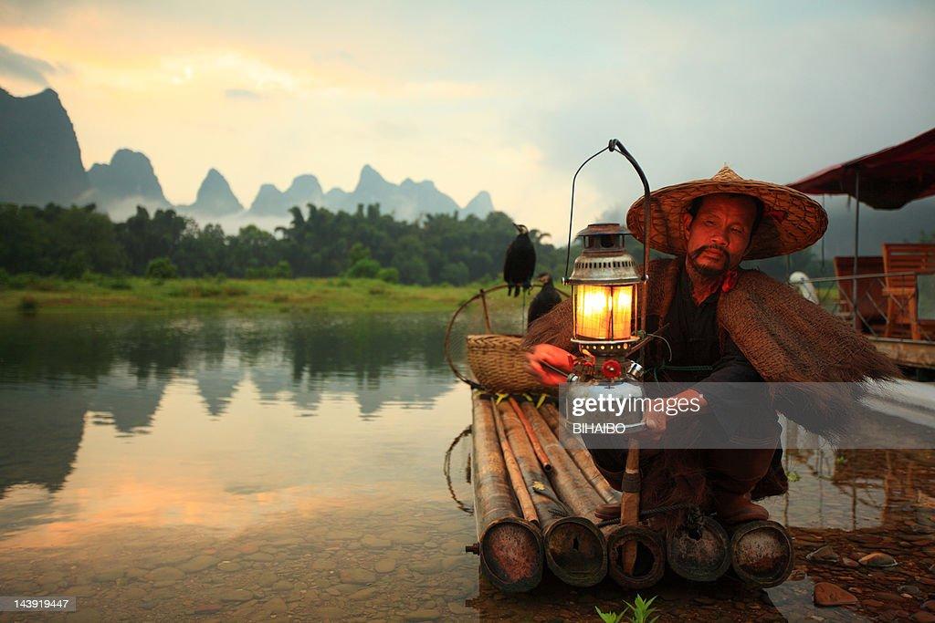 Lijiang fishermen : Stock Photo