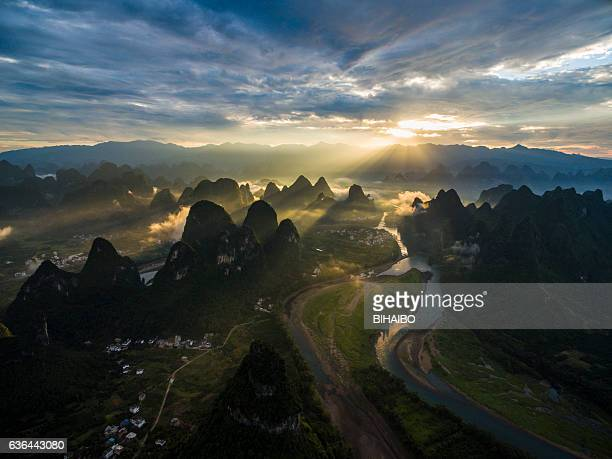 Lijiang river and karst landform dusk,xingping,yangshuo,guilin,china