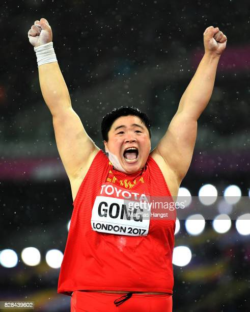 Lijiao Gong of China celebrates as she competes in the Women's Shot Put final during day six of the 16th IAAF World Athletics Championships London...