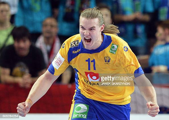 Likas Olsson of Sweden reacts during the Men's 2016 EHF European Handball Championships between Sweden and Slovenia in Centennial Hall in Wroclaw on...