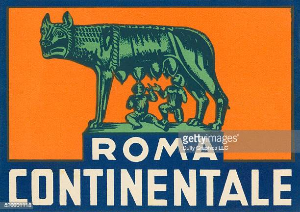Like a mini vintage travel poster used to advertise a hotel and identify luggage or steamer trunks showing the famous Roman Sculpture Capitoline Wolf...