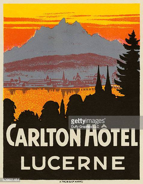 Like a mini vintage travel poster used to advertise a hotel and identify luggage or steamer trunks This shows Lake Lucern and Pilatus Mountain