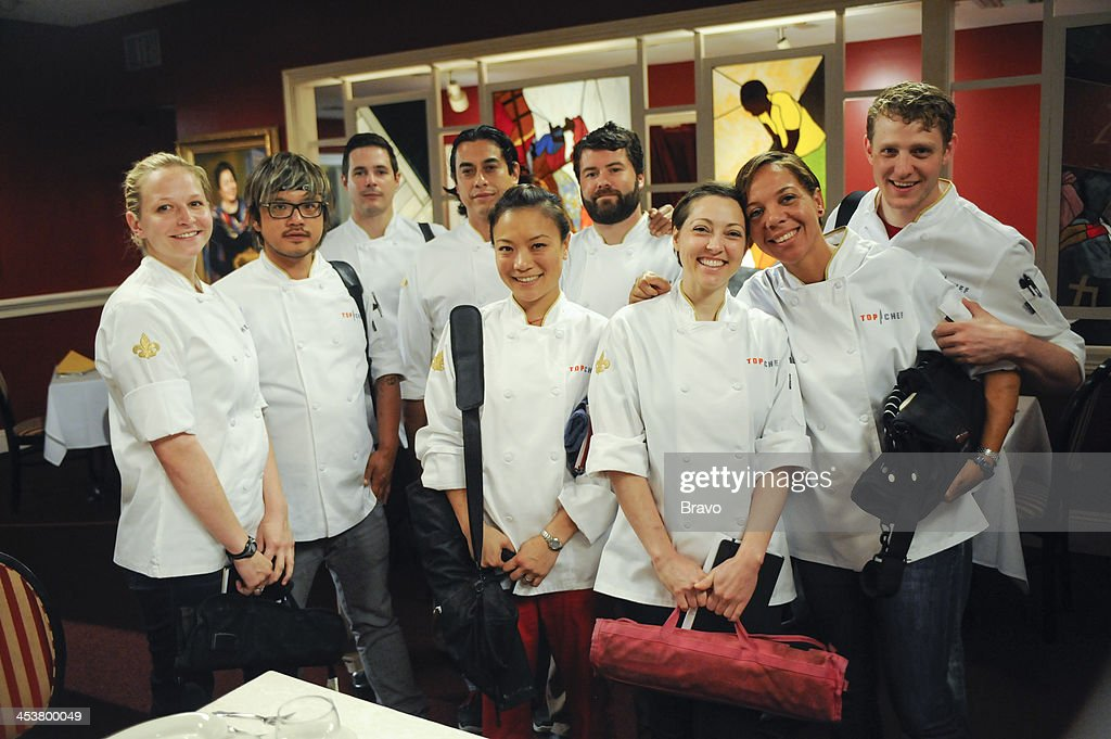 TOP CHEF -- 'Like Mama Made' Episode 1110 -- Pictured: (l-r) Contestants Stephanie Cmar, Brian Huskey, Nick Elmi, Carlos Gaytan, Shirley Chung, Justin Devillier, Carrie Mashaney, Nina Compton, Travis Masar --