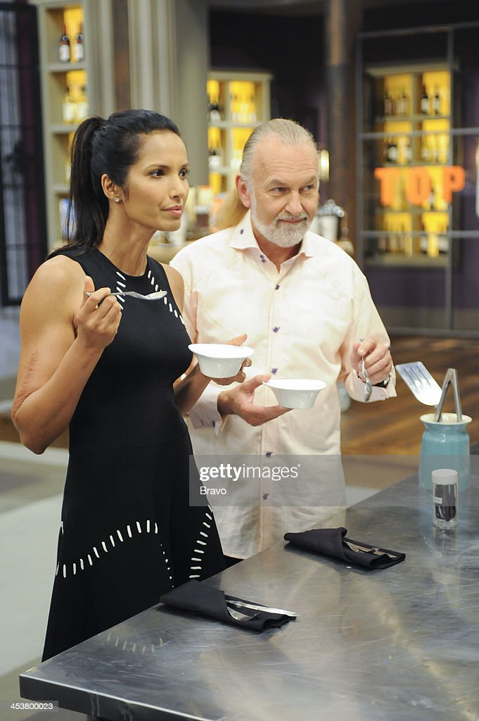 TOP CHEF -- 'Like Mama Made' Episode 1110 -- Pictured: (l-r) Judges <a gi-track='captionPersonalityLinkClicked' href=/galleries/search?phrase=Padma+Lakshmi&family=editorial&specificpeople=201593 ng-click='$event.stopPropagation()'>Padma Lakshmi</a>, Hubert Keller --