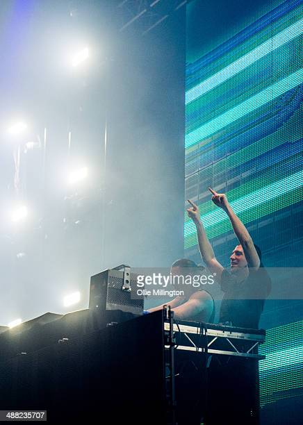 Like Mike and Dimitri Vegas of Dimitri Vegas Like Mike perform on stage at O2 Academy on May 4 2014 in Liverpool United Kingdom