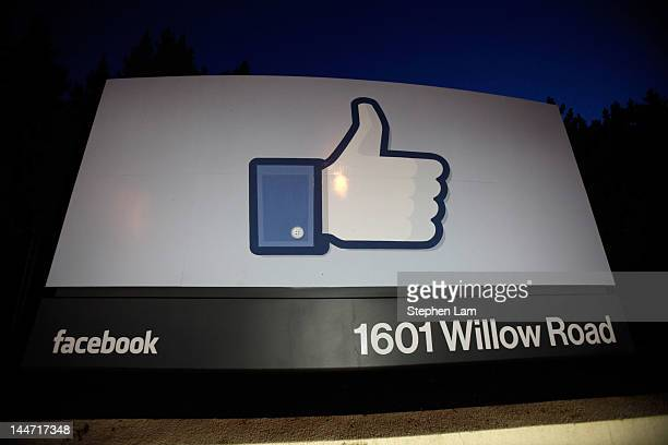 A 'like' sign stands at the entrance of Facebook headquarters May 18 2012 in Menlo Park California The eightyearold social network company listed...