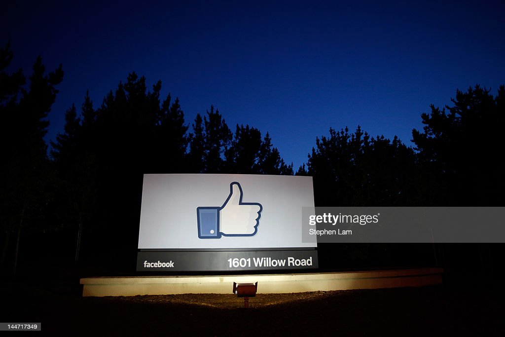 A 'like' sign stands at the entrance of Facebook headquarters May 18, 2012 in Menlo Park, California. The eight-year-old social network company listed their initial public offering on NASDAQ Friday morning at $38 a share and a valuation of $104 billion, making its IPO the third largest in U.S. history after General Motors and Visa.