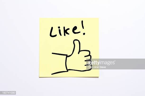 'Like' sticky note with a drawn 'thumbs up'