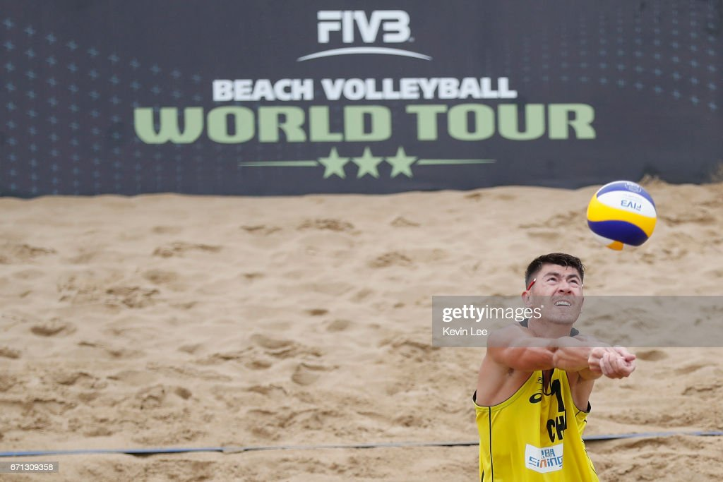 Likejiang Ha of China in action at the FIVB Beach Volleyball World Tour Xiamen Open 2017 on April 21, 2017 in Xiamen, China.