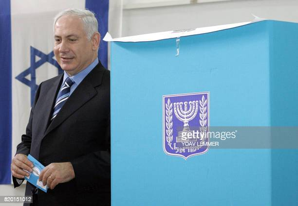 Likud rightwing leader and former premier Bejamin Netanyahu casts his vote 28 March 2006 at a polling station in Jerusalem Israel headed to the polls...