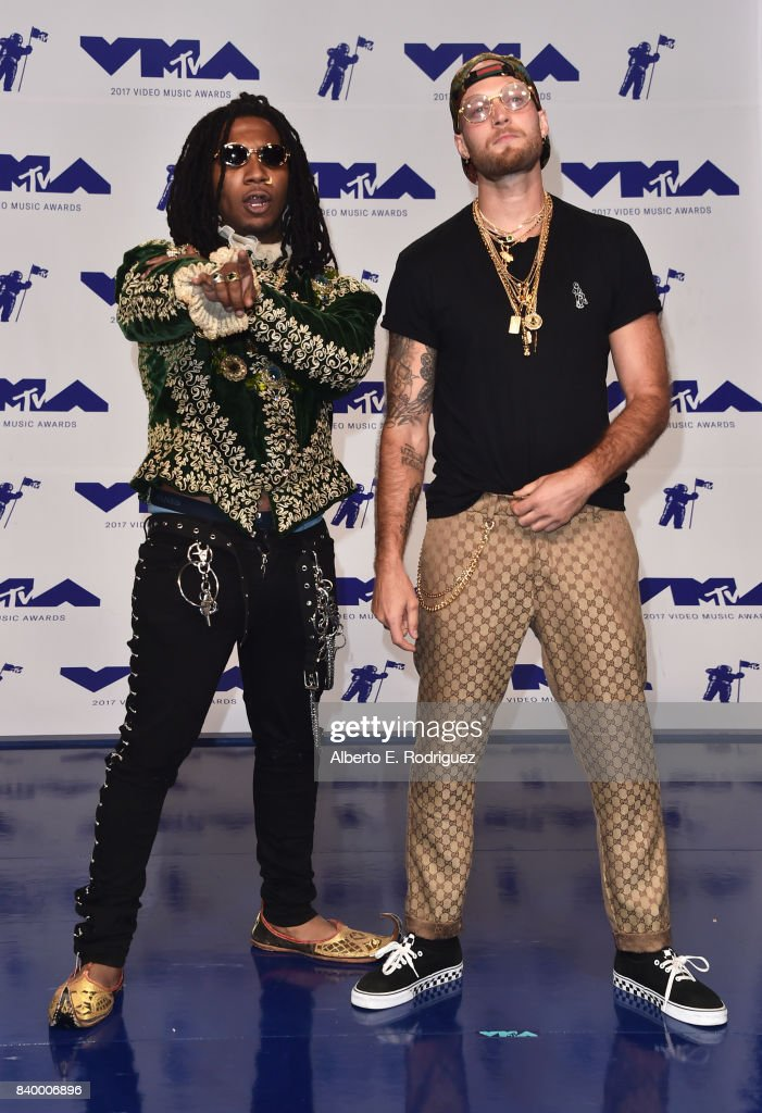 Lil B (L) and guest attend the 2017 MTV Video Music Awards at The Forum on August 27, 2017 in Inglewood, California.