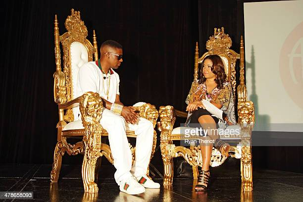 Lil Boosie and Angela Yee attend the Lil Boosie Press Conference at the W Hotel New Orleans on march 10 2014 in New Orleans Louisiana