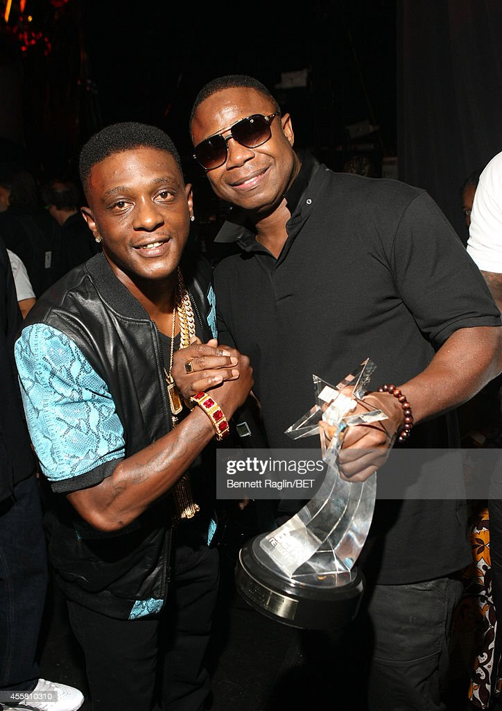 Lil Boosie (L) and Doug E. Fresh pose backstage the BET Hip Hop Awards 2014 at Boisfeuillet Jones Atlanta Civic Center on September 20, 2014 in Atlanta, Georgia.