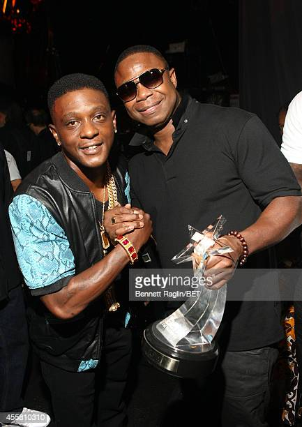 Lil Boosie and Doug E Fresh pose backstage the BET Hip Hop Awards 2014 at Boisfeuillet Jones Atlanta Civic Center on September 20 2014 in Atlanta...