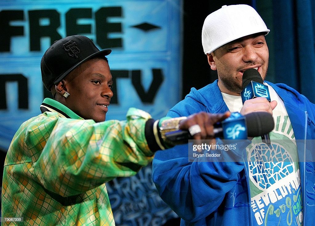 Lil Boosie (L) and VJ Cipha Sounds appear onstage during a taping of MTV's Sucker Free at MTV studios in Times Square on January 23, 2007 in New York City.