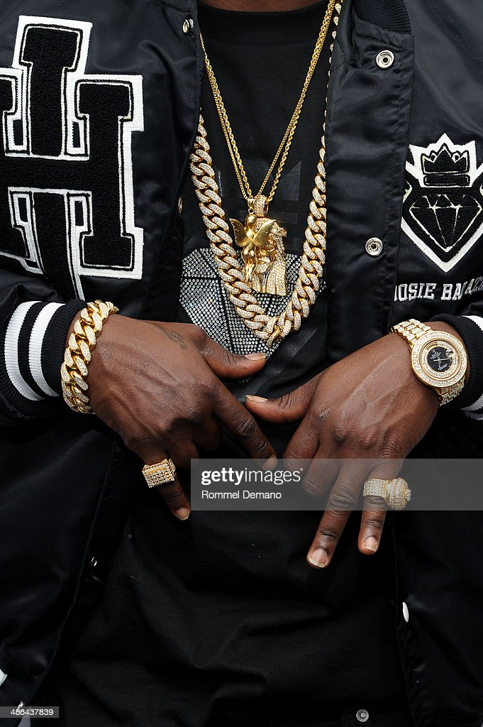 <a gi-track='captionPersonalityLinkClicked' href=/galleries/search?phrase=Lil+Boosie&family=editorial&specificpeople=1295943 ng-click='$event.stopPropagation()'>Lil Boosie</a> (jewelry detail) visits at SiriusXM Studios on April 24, 2014 in New York City.