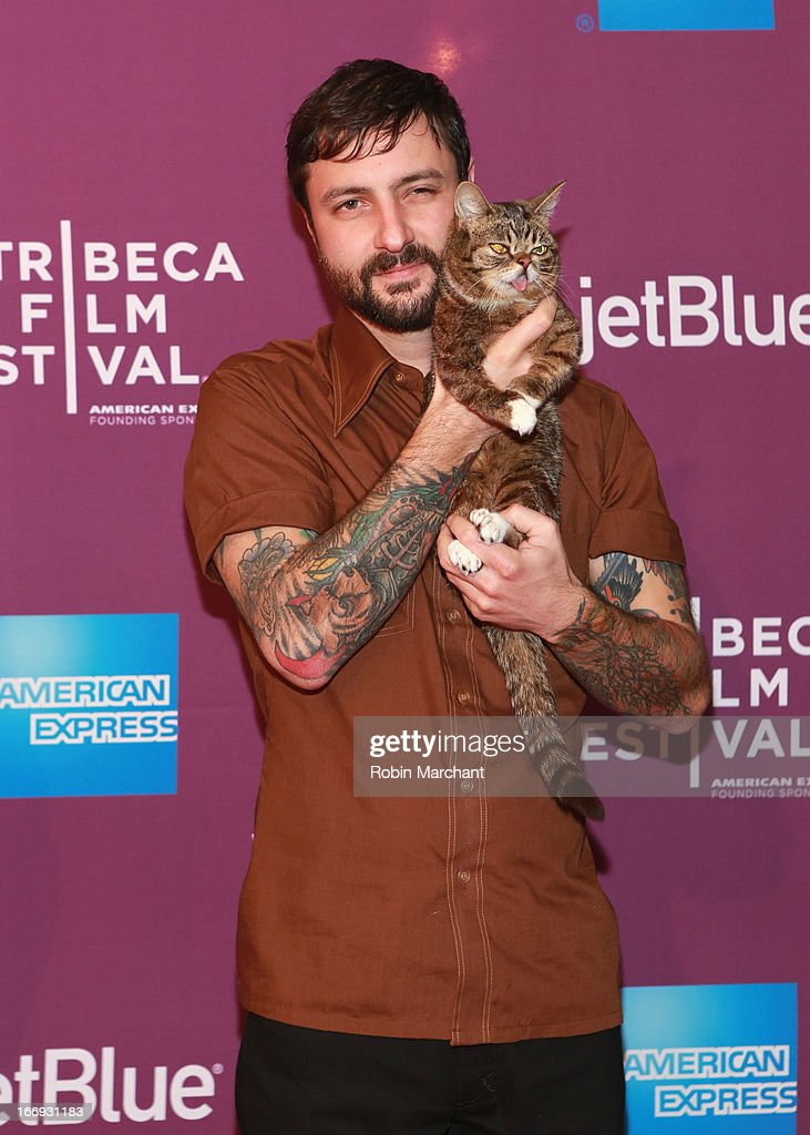 Lil Bubs owner Mike Bridavsky and celebrity internet cat Lil Bub attend the 'Lil Bub & Friendz' world premiere during the 2013 Tribeca Film Festival on April 18, 2013 in New York City.
