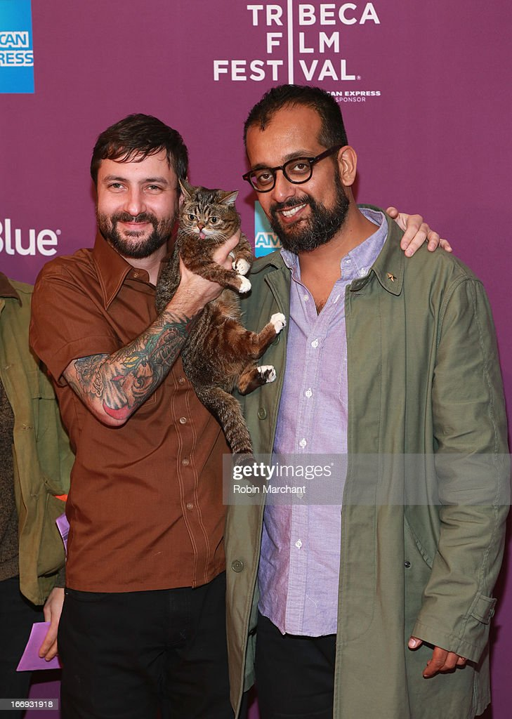 Lil Bubs owner Mike Bridavsky, celebrity internet cat Lil Bub and co-founder of VICE Suroosh Alvi attend the 'Lil Bub & Friendz' world premiere during the 2013 Tribeca Film Festival on April 18, 2013 in New York City.