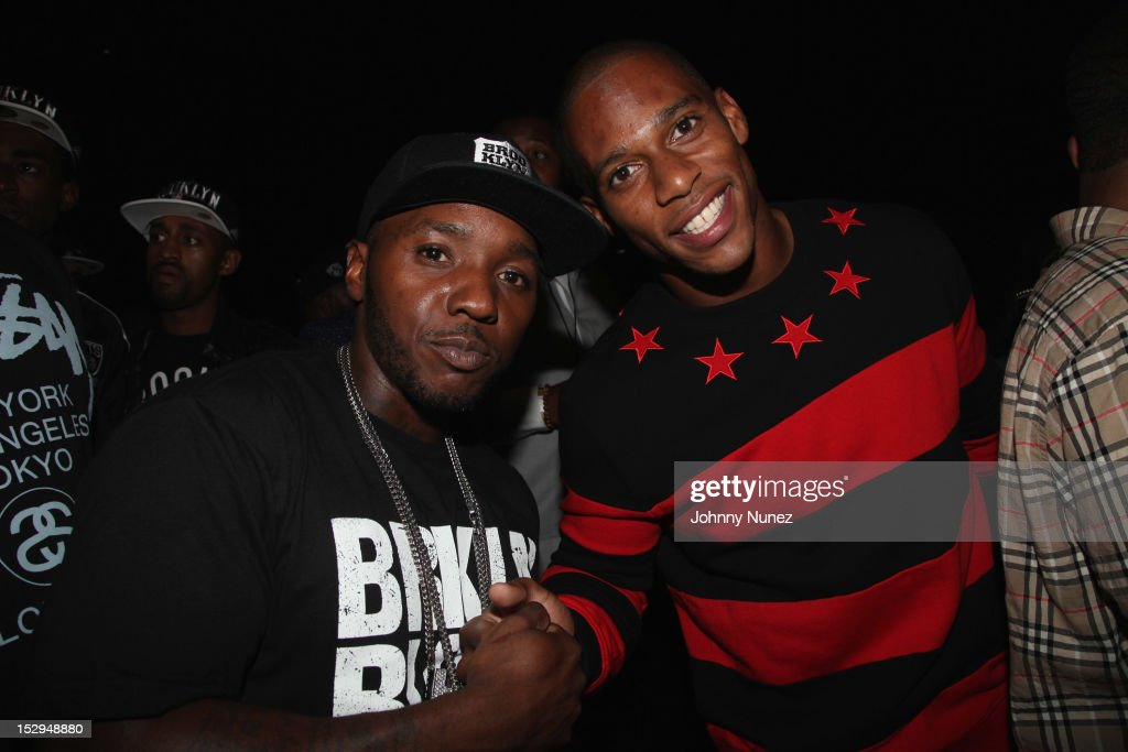 Lil' Cease, and Victor Cruz attend the exclusive D'USSE VIP Lounge at Barclays Center on September 28, 2012 in New York City.