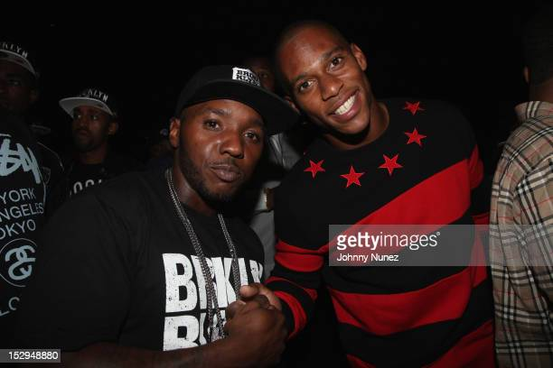 Lil' Cease and Victor Cruz attend the exclusive D'USSE VIP Lounge at Barclays Center on September 28 2012 in New York City