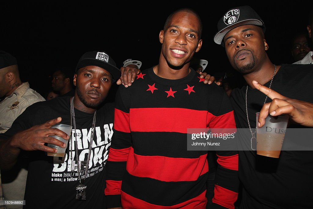 Lil' Cease, Victor Cruz, and Memphis Bleek attend the exclusive D'USSE VIP Lounge at Barclays Center on September 28, 2012 in New York City.