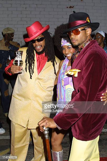 Lil John with Usher and Chili attending Usher's 25th Birthday Bash 'Flashback 1978' at Pearl in West Hollywood CA 10/19/03