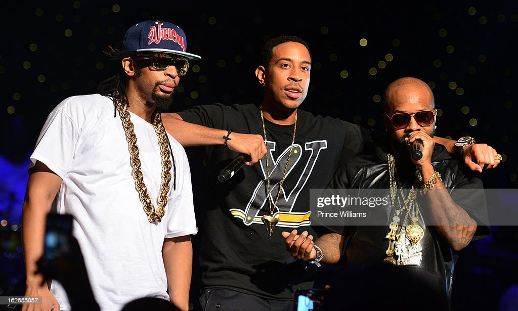 Lil Jon, Ludcaris and Jermain Dupri perform at the So So Def 20th anniversary concert at the Fox Theater on February 23, 2013 in Atlanta, Georgia.
