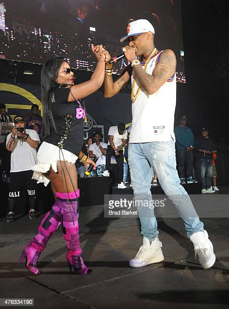 Lil Kim and Fabolous perform at the 2015 Hot 97 Summer Jam at MetLife Stadium on June 7 2015 in East Rutherford New Jersey
