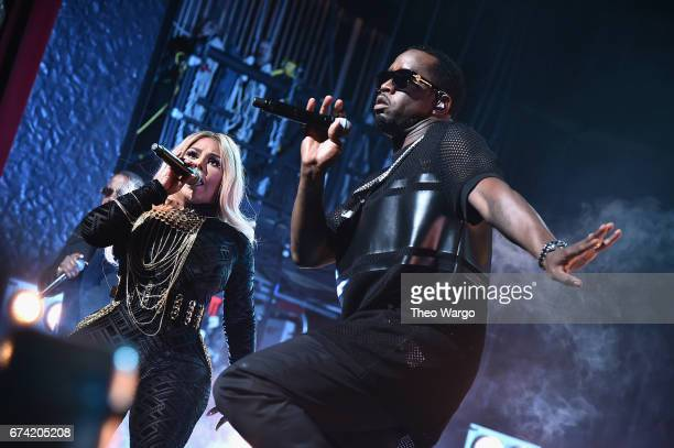 Lil Kim and Sean Combs perform at the 'Can't Stop Won't Stop The Bad Boy Story' Premiere at the Beacon Theatre on April 27 2017 in New York City