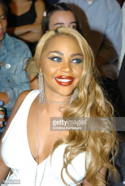 Lil Kim during Olympus Fashion Week Spring 2005 Jeremy Scott Front Row and Backstage at Bryant Park in New York City New York United States