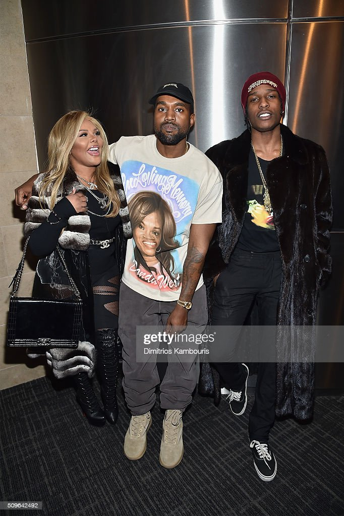 <a gi-track='captionPersonalityLinkClicked' href=/galleries/search?phrase=Lil%27+Kim&family=editorial&specificpeople=202942 ng-click='$event.stopPropagation()'>Lil' Kim</a>, Kanye West and <a gi-track='captionPersonalityLinkClicked' href=/galleries/search?phrase=ASAP+Rocky&family=editorial&specificpeople=8562085 ng-click='$event.stopPropagation()'>ASAP Rocky</a> attend Kanye West Yeezy Season 3 on February 11, 2016 in New York City.