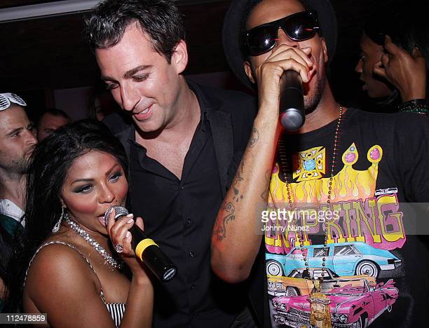 Lil' Kim Mark Birnbaum and Kid Cudi perform at Eugene Remm and Mark Birnbaum's joint birthday party at Tenjune on June 9 2009 in New York City