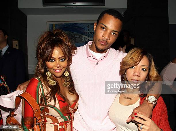 Lil Kim Ti and Tiny during Sean 'Diddy' Combs Press Play Listening Private After Party at Hotel Gansevoort in New York City New York United States