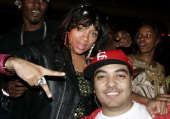 Lil Mama and DJ Cipha Sounds attend LiL Mama's album release party April 28 2008 at Room Service in New York City