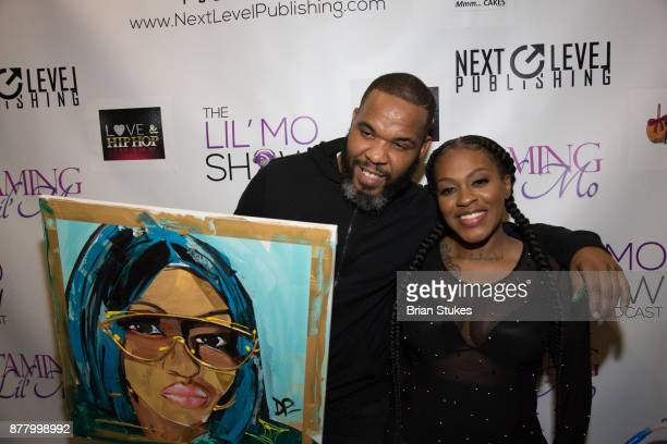 Lil' Mo and Demont Pinder attend VH1 'Love Hip Hop' viewing party at Slate on November 20 2017 in Baltimore Maryland