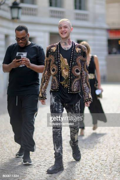 Lil Peep attends the Balmain Menswear Spring/Summer 2018 show as part of Paris Fashion Week on June 24 2017 in Paris France